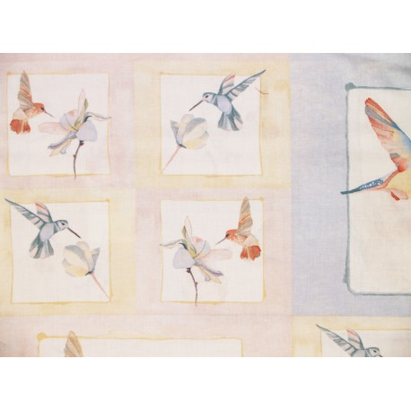 """Tela Patchwork panel colibries. Colección """"Gossamer"""" by Shell Rummel."""
