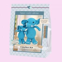 "Kit elefantes ganchillo con patrón amigurumi ""Sara & Simba"""