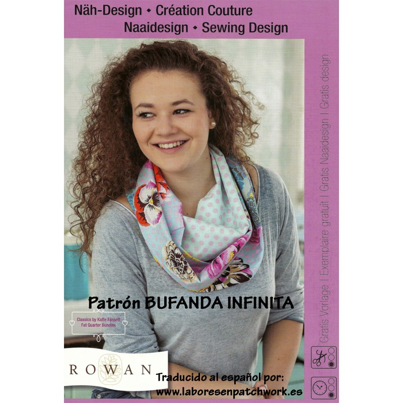Patrón gratis bufanda infinita telas Rowan por Coats Fabra