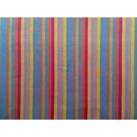 "Tela Patchwork de rayas azules, mostaza y vino. ""Wovwn Marrow Stripe"""