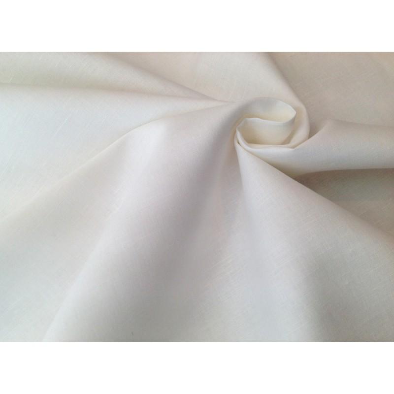 Tela de Lino barata color blanco roto tramada fina. \