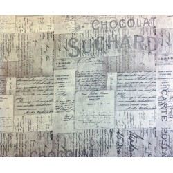"Tela Patchwork de letras francesas (French Script). Colección ""Electric Elements"" by Tim Holtz"