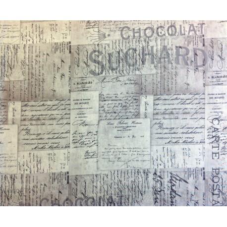 """Tela Patchwork de letras francesas (French Script). Colección """"Electric Elements"""" by Tim Holtz"""